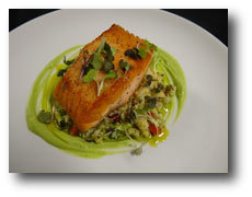 Pan Roasted Scottish Salmon with Toasted Pine Nut Couscous and Avocado Puree