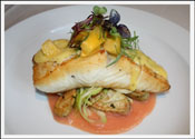 PAN-SEARED HALIBUT WITH SAVORY LEMON CURD, ROASTED STRIPED BEET PUREE, FINGERLING POTATO, LEEK & AND FENNEL HASH...