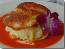 Pan-Seared Blackened Halibut with Lobster Risotto, Julienne Vegetables in Roasted Red Pepper Sauce